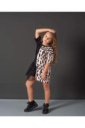 Hupo Kız Çocuk Siyah Tül Ve Zebra Desenli Elbise