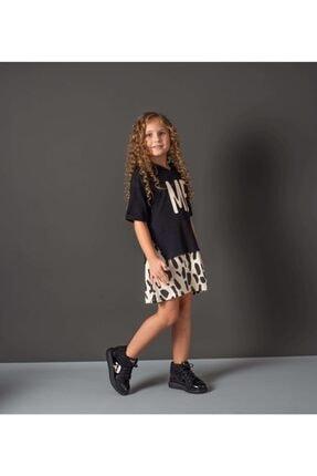 Hupo Kız Çocuk Siyah Kapüşonlu Zebra Desenli Elbise Takım
