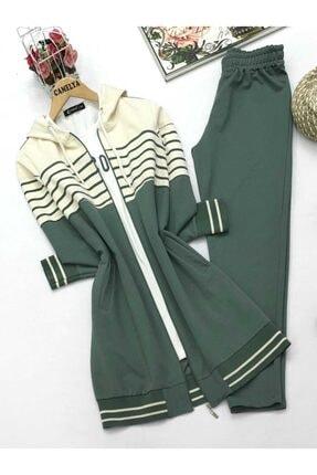 Camelya Fashion Kadın  Çizgili Eşofman Takımı 3 lü