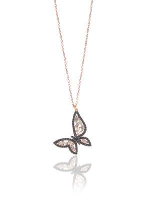 Söğütlü Silver Kadın Gümüş Rose Onik Taşlı Baget Kelebek Kolye SGTL8984