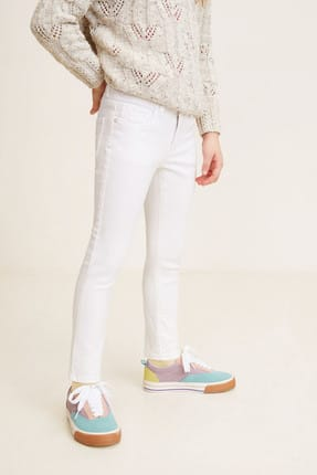 MANGO Kids Ekru Kız Çocuk Skinny jean pantolon