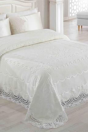 Merinos Petit Carre Gipürlü Yatak Örtüsü Seti Kemik
