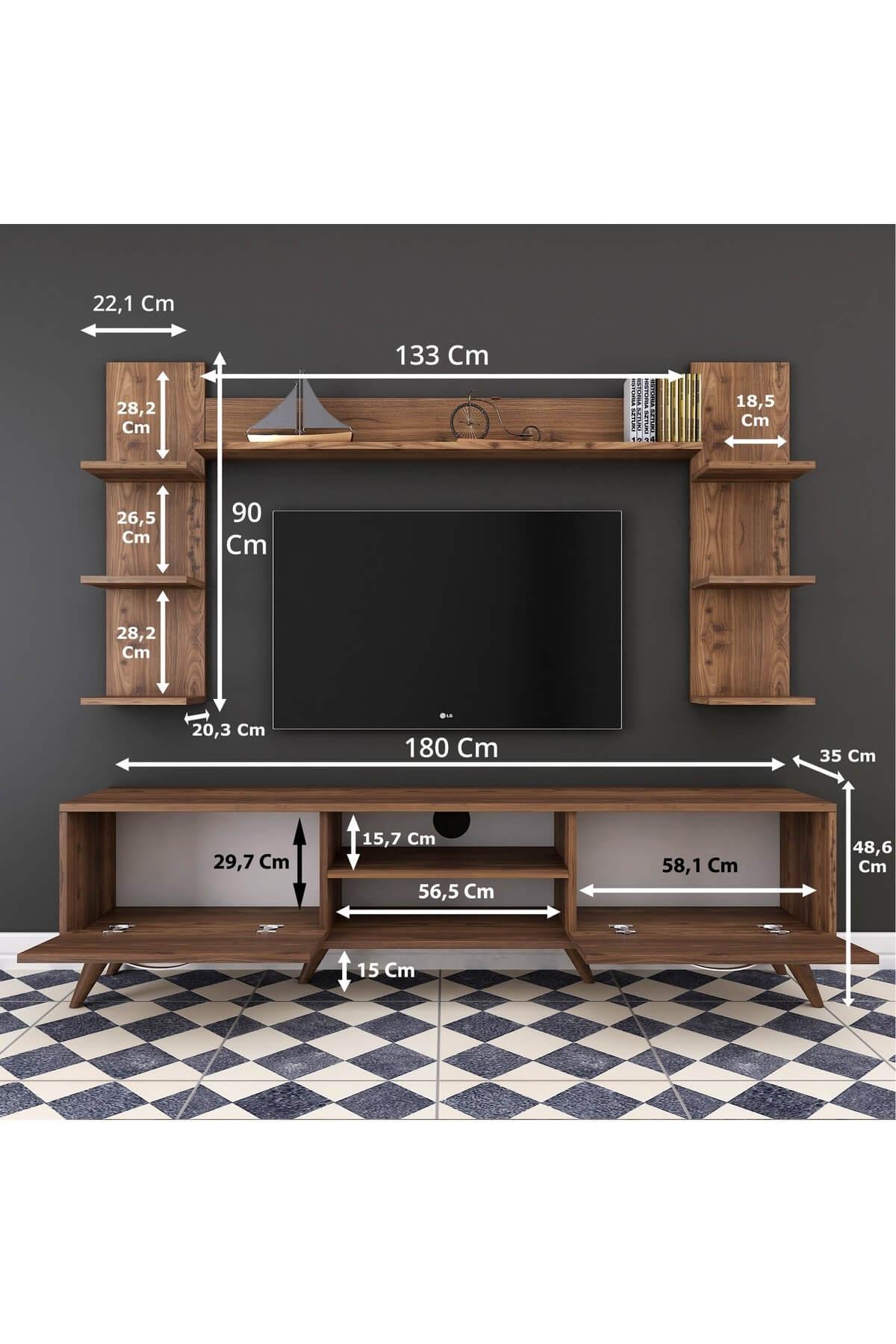 Rani Mobilya A9 Duvar Raflı Kitaplıklı Tv Ünitesi Duvara Monte Dolaplı Modern Ayaklı Tv Sehpası Ceviz M23 2