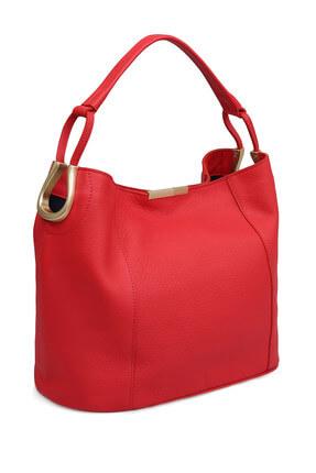 Laura Ashley Kadın Hakiki Deri Büyük Baget Çanta Kırmızı