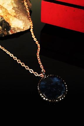 Dr. Stone Kadın Doğaltaş Lapis Lazuli Taşı Rose Altın Kaplama Kolye Krb127