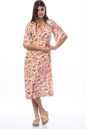 Pitti Kadın Somon Desenli Elbise 50974