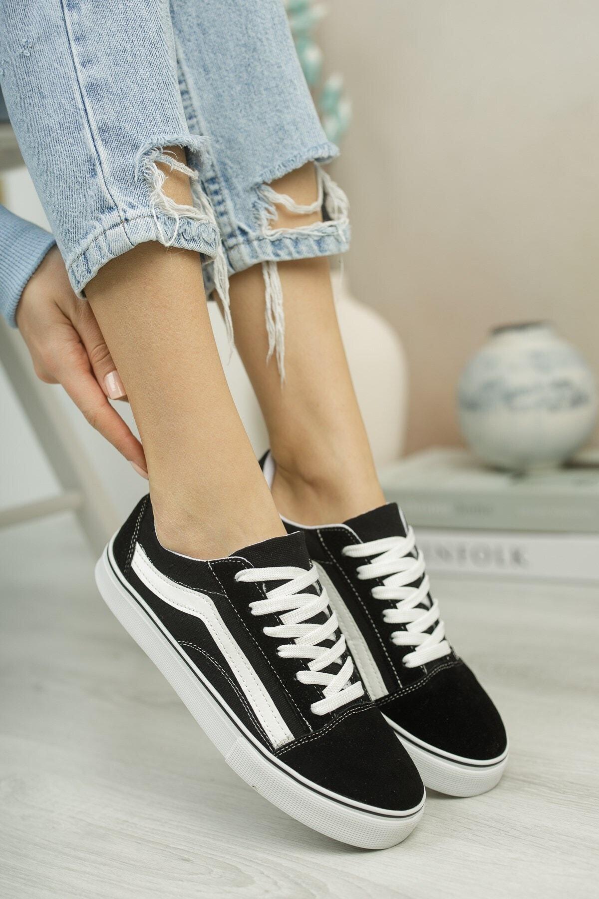 Riccon Unisex Siyah Beyaz Sneaker 0012151 1