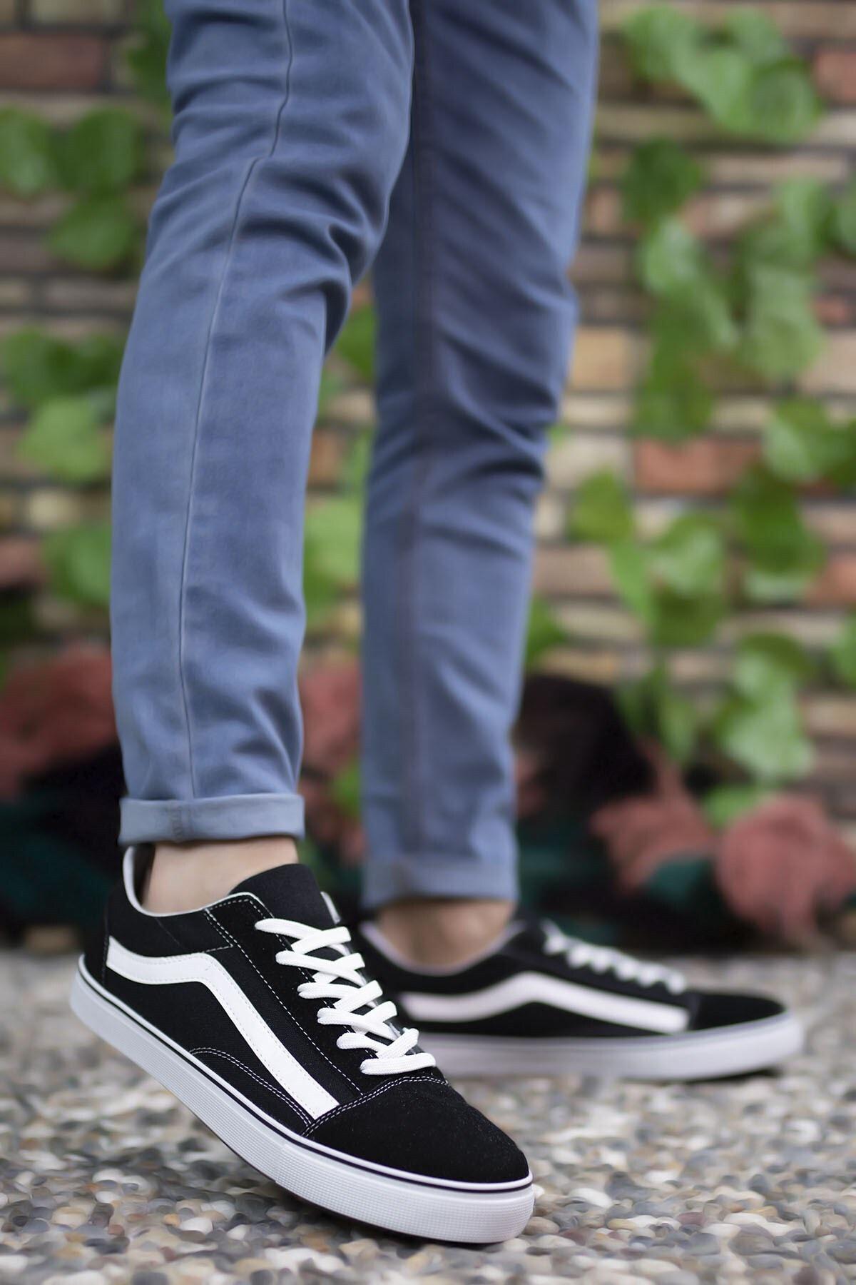 Riccon Unisex Siyah Beyaz Sneaker 0012151 2