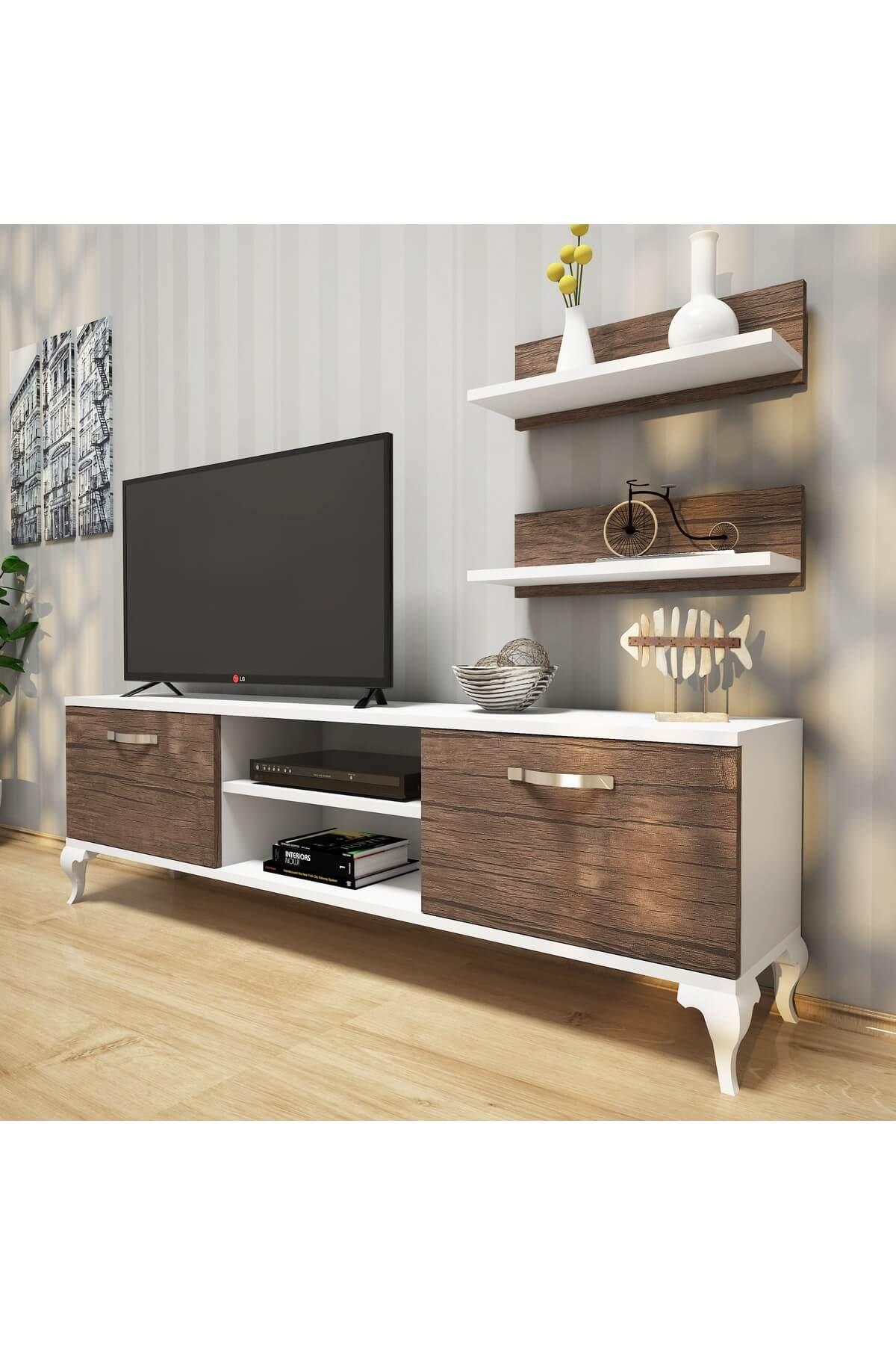 Rani Mobilya Rani A4 Duvar Raflı Tv Sehpası - Kitaplıklı Tv Ünitesi Modern Ayaklı Tasarım Beyaz Ceviz 1