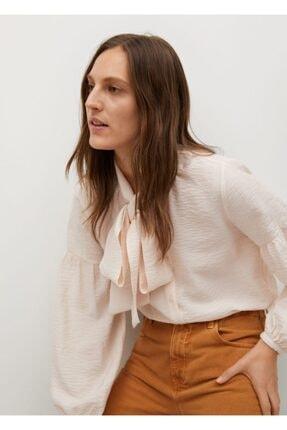 MANGO Woman Kadın Kravat Yakalı Bluz