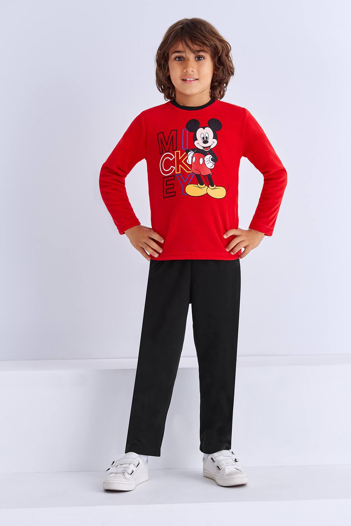 Mickey Mouse Mickey & Minnie Mouse Lisanslı Erkek Çocuk Pijama Takımı Açık Kırmızı 1