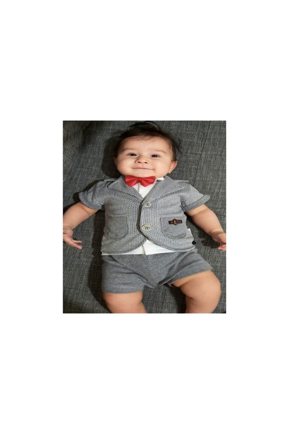 Modimix Erkek Bebek Açık Gri Kısa Kol Cepli 3 Parça Yazlık Takım Elbise 2