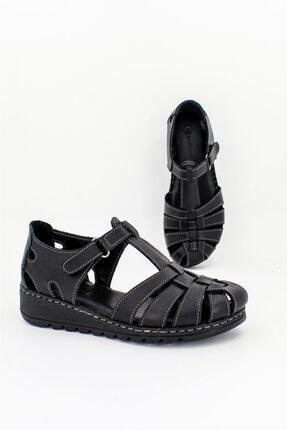 Deripabuc Hakiki Deri Siyah Kadın Deri Sandalet CRZ-0546