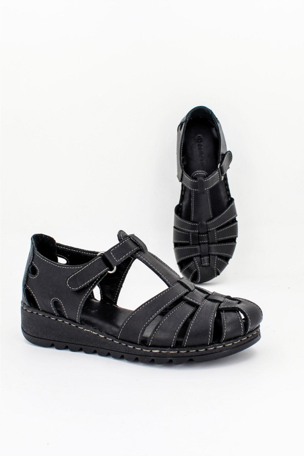 Deripabuc Hakiki Deri Siyah Kadın Deri Sandalet CRZ-0546 1