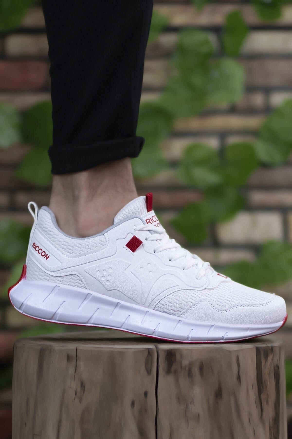 Riccon Unisex Beyaz Kırmızı Sneaker 0012075 1