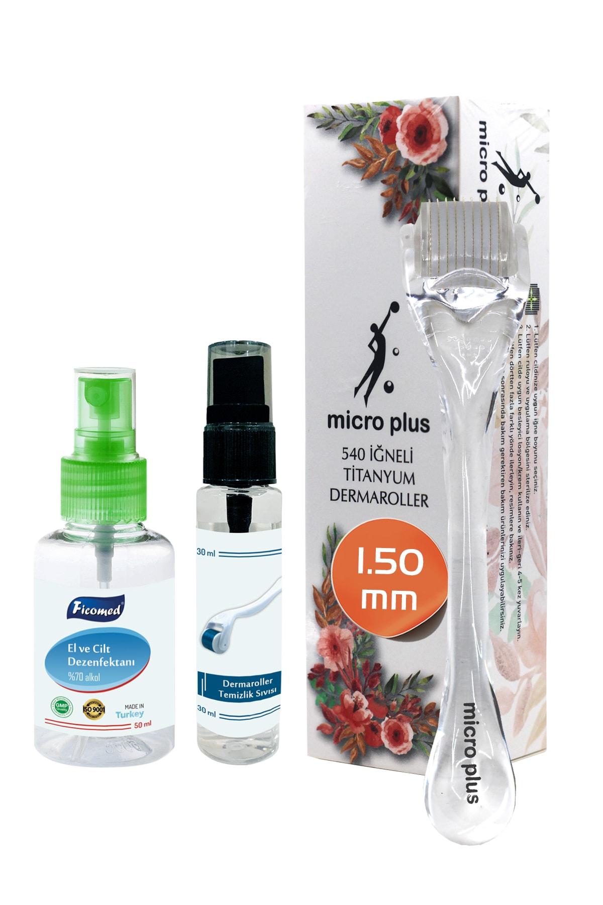 Micro Plus Dermaroller 1.50mm Titanyum 540 Iğneli Saç Yüz Vücut Derma Roller Cilt Ve Dermaroller Dezenfektanı 1