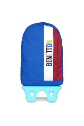 United Colors of Benetton Çekçekli Okul Çantası 70065 Mavi