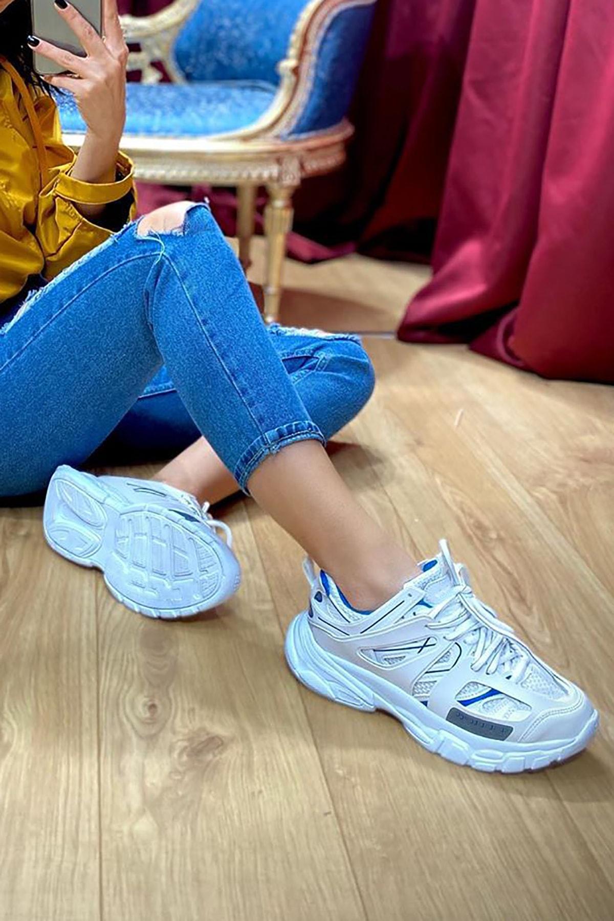 NOVELYA Unisex Beyaz Yüksek Taban Sneaker Ayakkabı 2