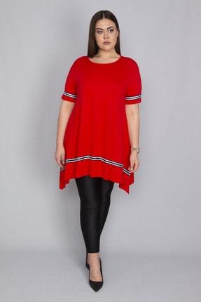 Şans Kadın Kırmızı Şerit Detaylı Asimertik Tunik 65N23133