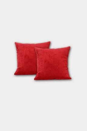 Elart Dekoratif Kırlent Kılıfı Peluş Kırmızı 2li (45x45)