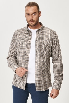 AC&Co / Altınyıldız Classics Tailored Slim Fit Dar Kesim Düğmeli Yaka Kareli Gömlek