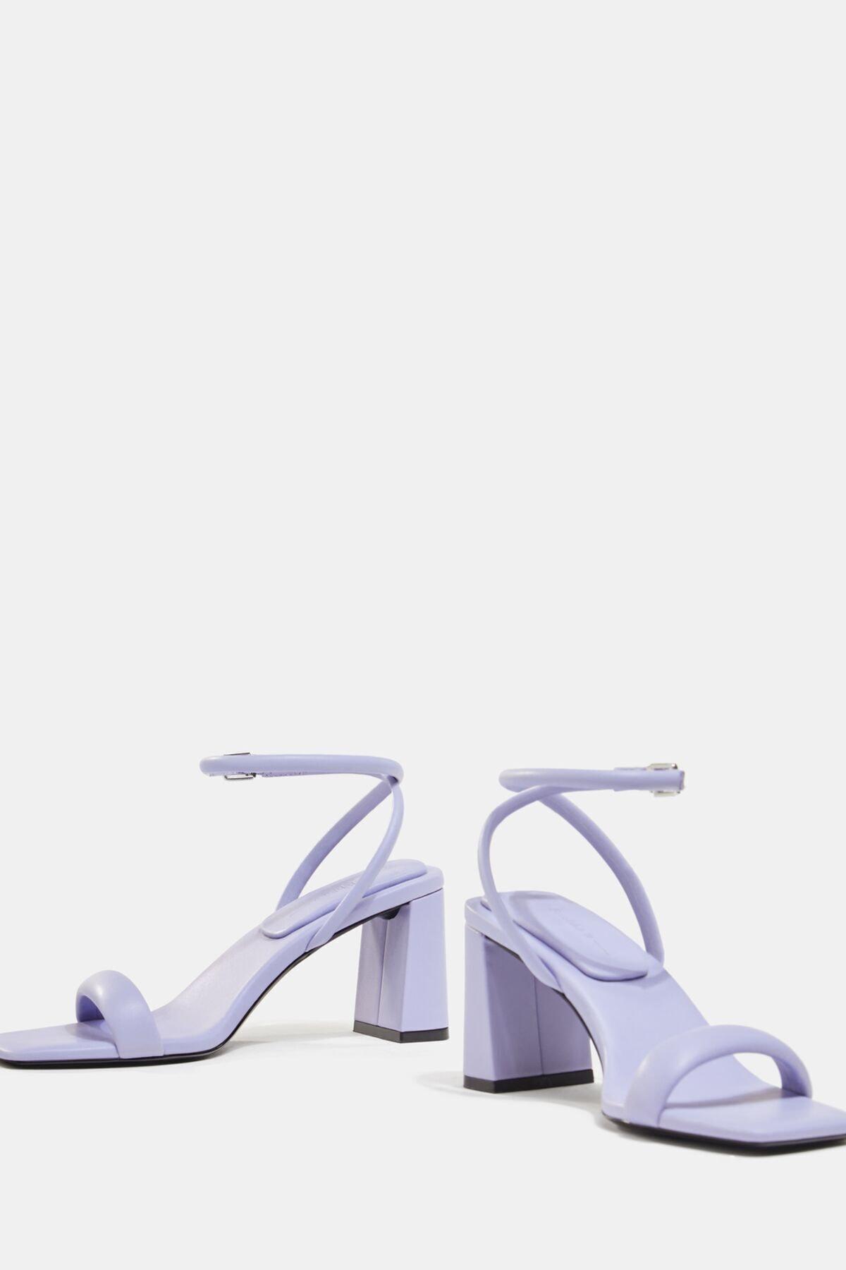 Bershka Kadın Mor Dolgulu Bantlı Topuklu Sandalet 1