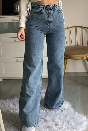 Narferita Odessa Yıkamalı Kot Renk Palazzo Jeans