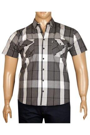 FaLa Jeans Erkek Siyah Büyük Beden Kısa Kol Kareli Gömlek