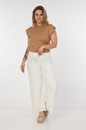 Womenice Kadın Beyaz Büyük Beden Dökümlü Bol Paça Pantolon
