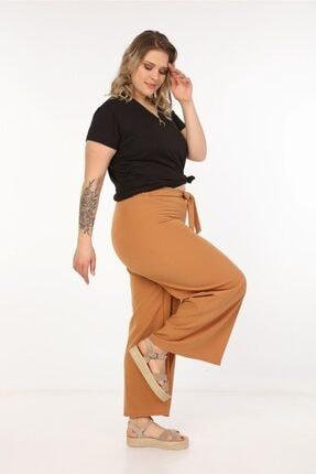 Womenice Kadın Kahverengi Kurdelalı Bol Paça Pantolon