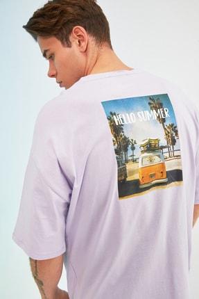 TRENDYOL MAN Lila Erkek Kısa Kollu Baskılı Oversize T-Shirt TMNSS21TS0619