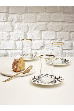 Emsan Yıldız 12 Parça Çay Seti Porselen Tabaklı Çay Bardağı