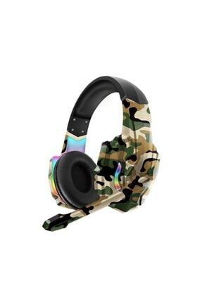 Teknoloji Gelsin Kahverengi Karlerbass 6k Işıklı Rgb Mikrofonlu Oyuncu Kulaklığı Pro Surround Sound Gaming Kamuflaj
