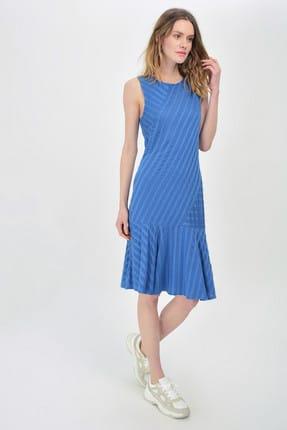 Hanna's by Hanna Darsa Kadın Lacivert Bisiket Yakalı Sıfır Kollu Elbise Hn1449