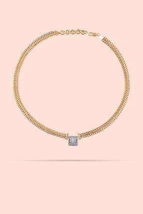 ATASAY Kadın Sarı Altın Baget Taşlı Kolye 2325674
