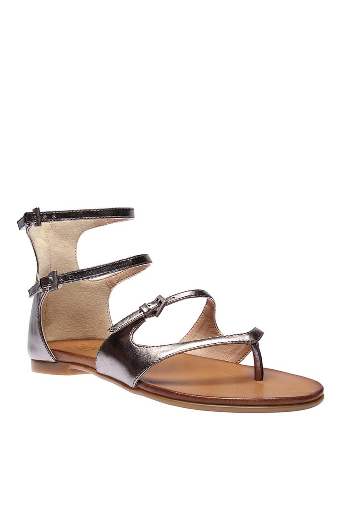 İnci Hakiki Deri Antrasit Kadın Sandalet 120120543046 2