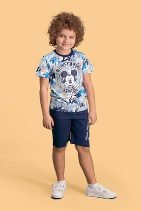 Mickey Mouse Mickey & Minnie Mouse Lisanslı Krem Erkek Çocuk Bermuda Takım