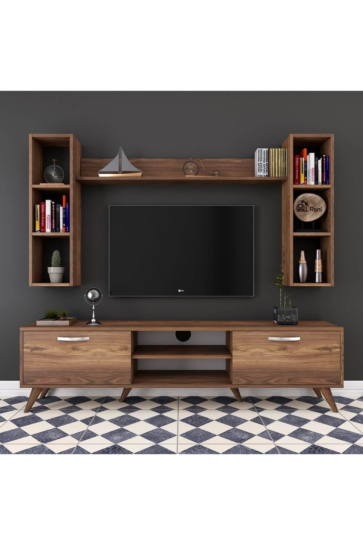 Rani Mobilya A9 Duvar Raflı Kitaplıklı Tv Ünitesi Duvara Monte Dolaplı Modern Ayaklı Tv Sehpası Ceviz M5 1