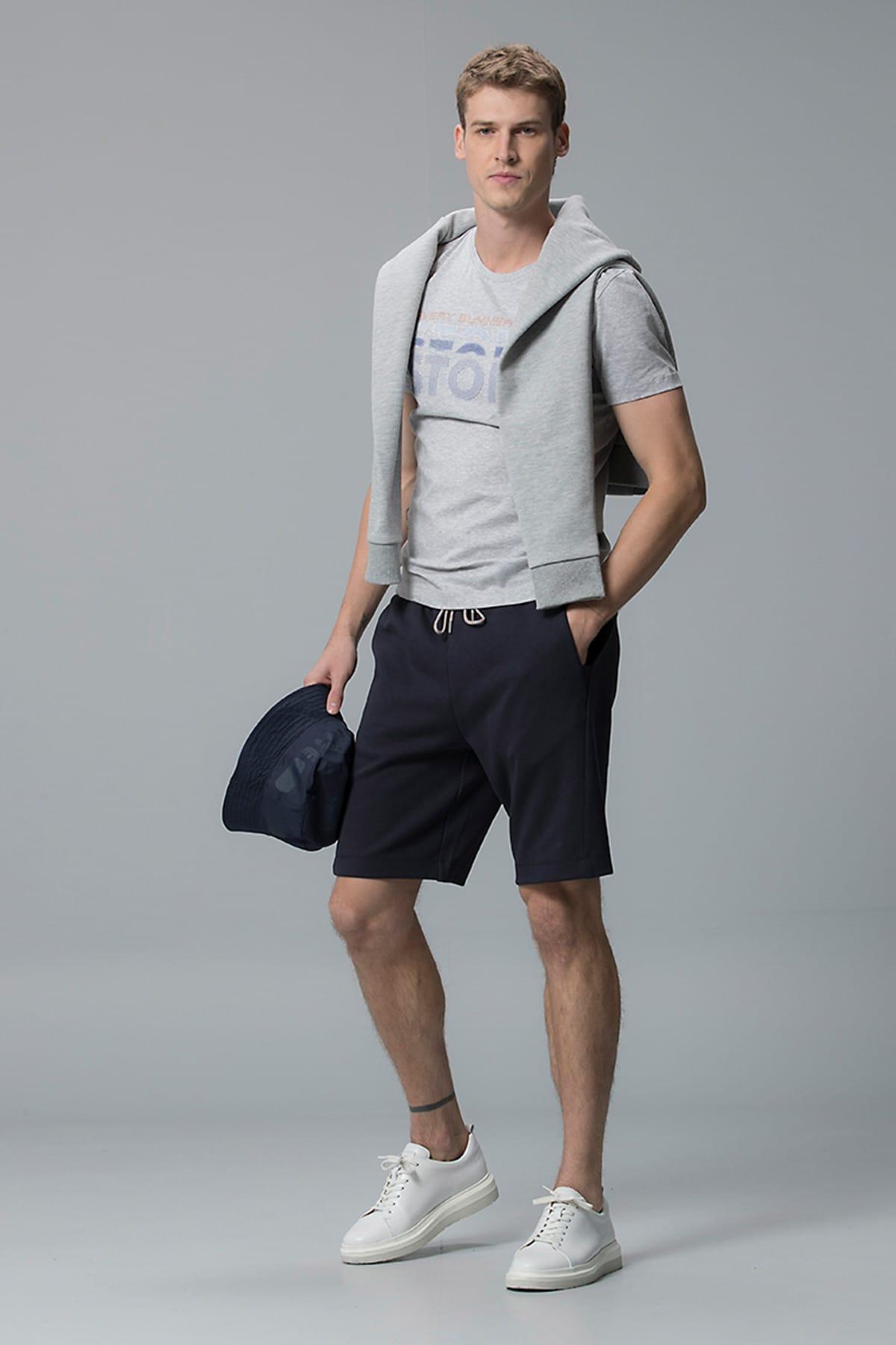 Lufian Erkek Hespores Grafik T- Shirt Açik Gri 111020011100180 1