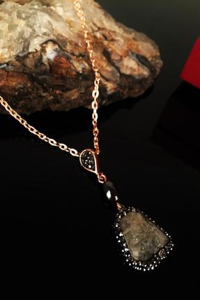 Dr. Stone Kadın Doğaltaş Sitrin Taş�� Rose Altın Kaplama Kolye Krb175