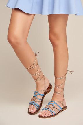 İnci Hakiki Deri Mavi Kadın Sandalet 120130002348