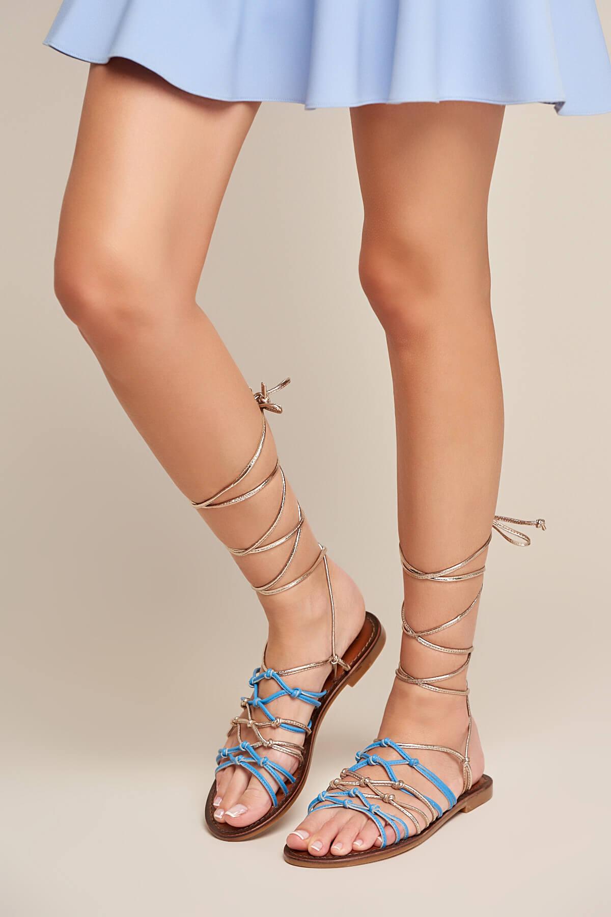 İnci Hakiki Deri Mavi Kadın Sandalet 120130002348 1