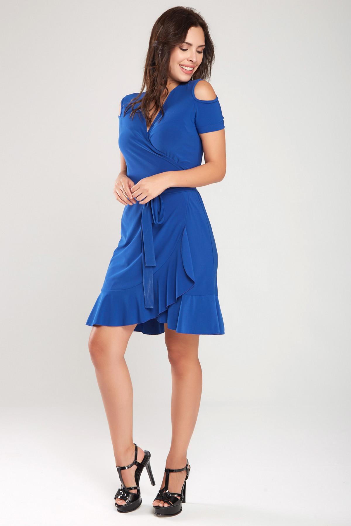 Laranor Kadın Saks Kruvaze Kesim Elbise 18L6251 1