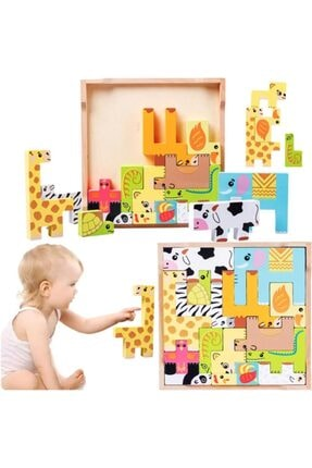 OyuncakZade Sevimli Hayvanlar 3d Ahşap Bulmaca Yapboz Eğitici Zeka Gelişitirici Animals Puzzle Bultak Oyuncak