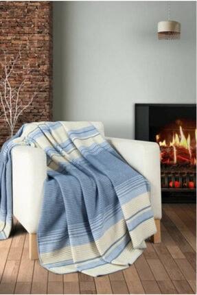 GENÇEV HOME COLLECTİONS Örgü Mavi Çift Kişilik Battaniye 180x220