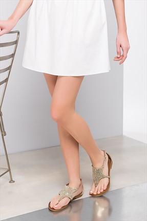 İnci Hakiki Deri Altın Kadın Sandalet 120120082010
