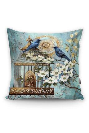 Realhomes Mavi Kuş Desen Dijital Baskılı Dekoratif Yastık Kırlent Kılıfı