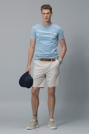 Lufian Lakon Vintage T- Shirt Mavi