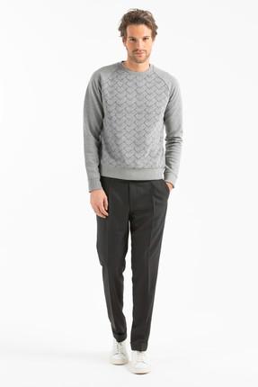 Lufian Erkek Slim Fit Redores Sweatshirt Gri Melanj LF17WMKW006037
