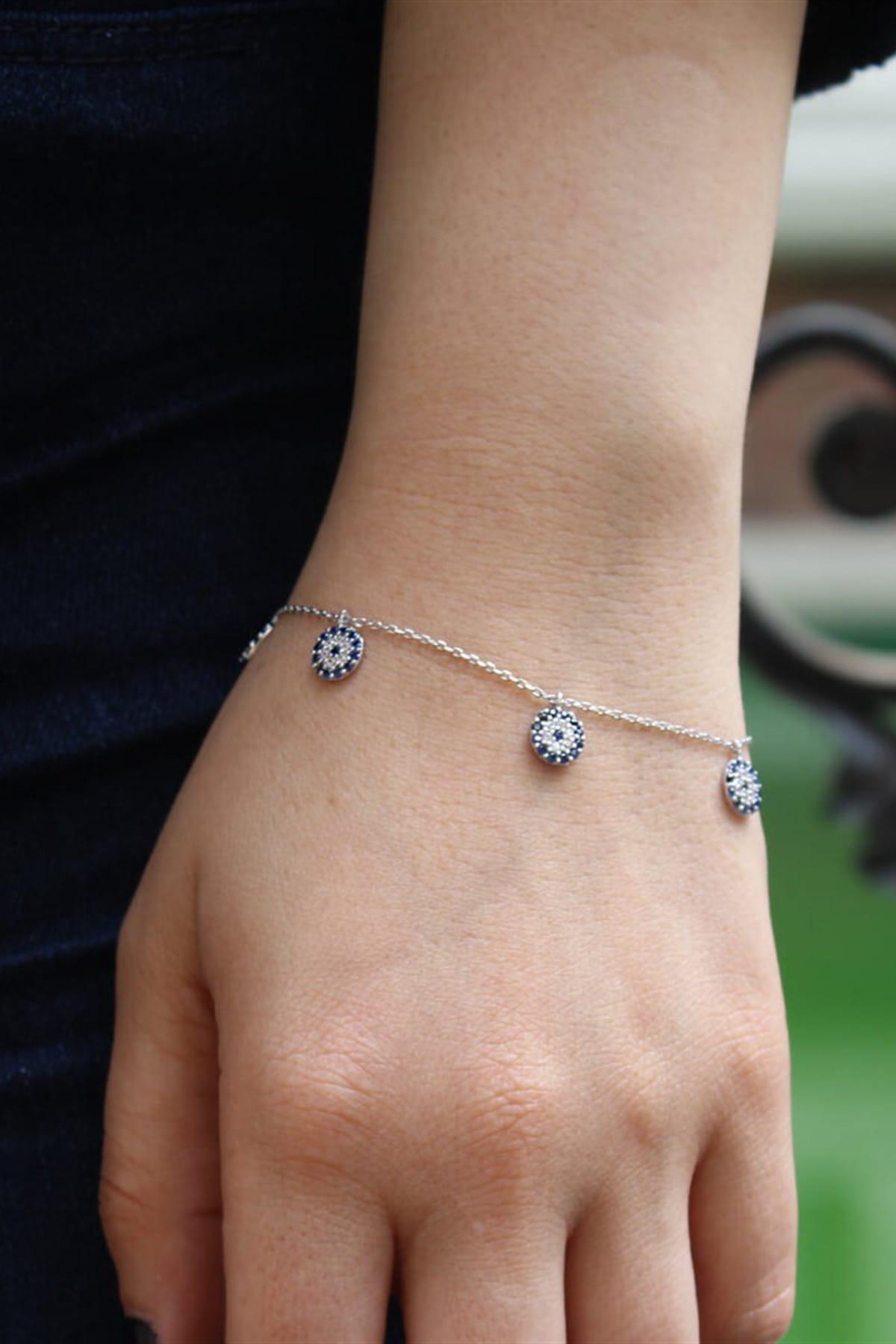 Silverplus Kadın Nazar Boncuklu Gümüş Bileklik AG1169 1